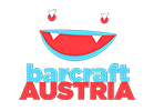 The BarCraft Austria Logo; lower-case barcraft, upper-case AUSTRIA and a smiley face with teal lips, red eyes and mouth and white teeth as well as white accents in the eyes.